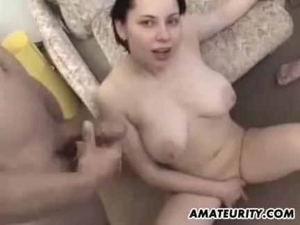 Busty amateur girlfriend homemade gangbang